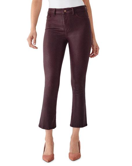 DL1961 Premium Denim Bridget Cropped High-Rise Boot-Cut Jeans