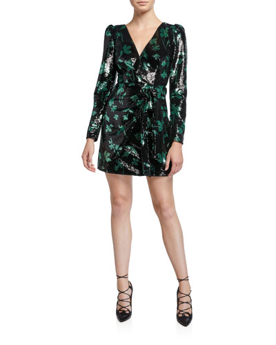Sequined Leaf Long-Sleeve Mini Dress
