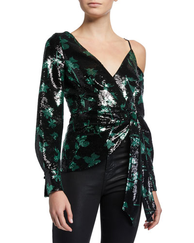 Leaf Sequined Cold-Shoulder Wrap Top