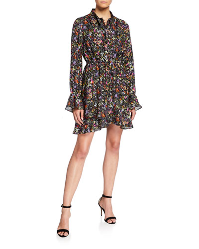 Long-Sleeve Floral Tie-Neck Shirt Dress
