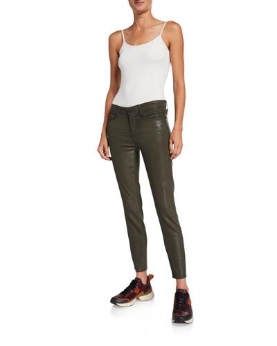 Verdugo Coated Mid-Rise Ankle Skinny Jeans w/ Raw Hem