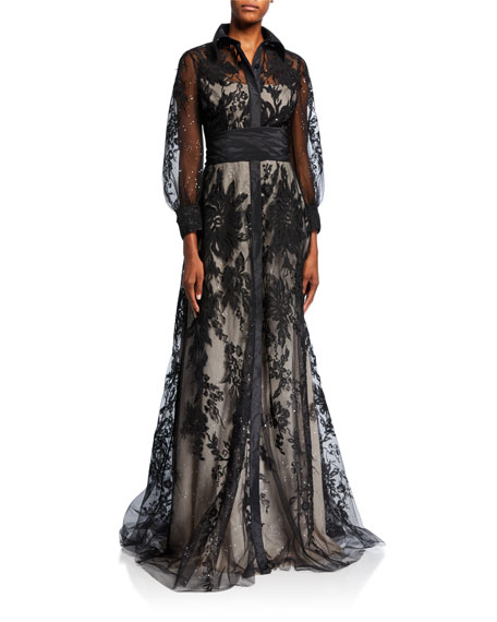 Rickie Freeman for Teri Jon Collared Embellished Tulle Over Stud Lining Gown