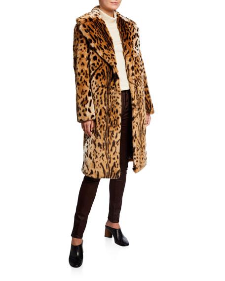 Kendall + Kylie Leopard Print Faux-Fur Coat
