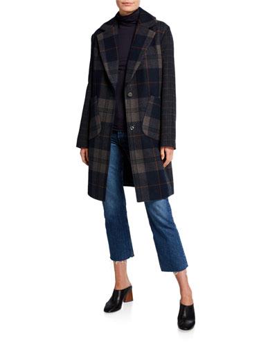 Plaid Wool Drop Shoulder Coat