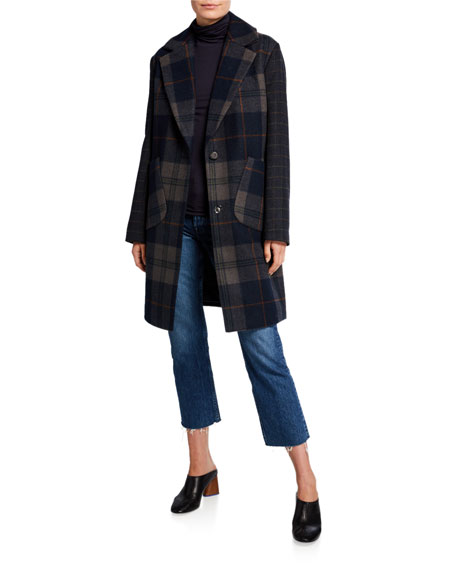 Kendall + Kylie Plaid Wool Drop Shoulder Coat