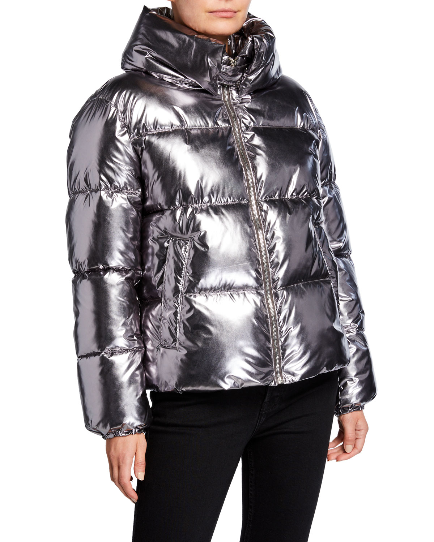 Shiny Cropped Puffer Coat