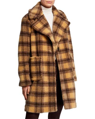 Plaid Patch Pocket Faux-Fur Coat