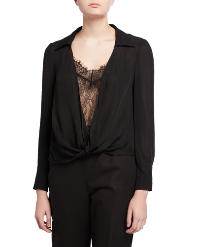 Jannie Collared Long-Sleeve Blouse w/ Lace Cami