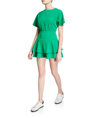 Palmira Short-Sleeve Tie-Back Tiered Ruffle Dress