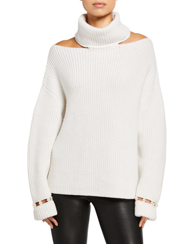 Lara Cold-Shoulder Pearl Pullover