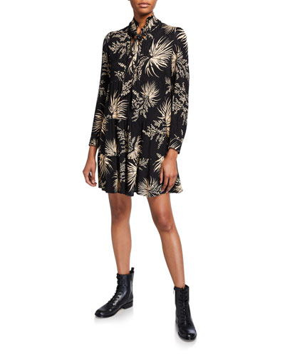 Eugene Printed Long-Sleeve Tie-Neck Dress