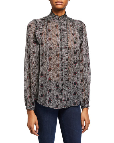 Precious Printed Ruffle Button-Down Top