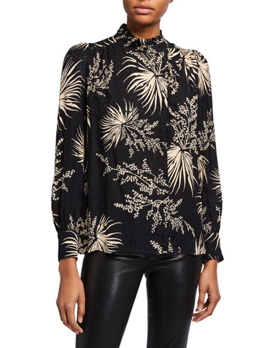 Eda Printed Ruffle Mock-Neck Top