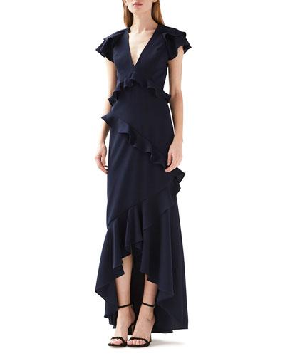 V-Neck Ruffled High-Low Dress