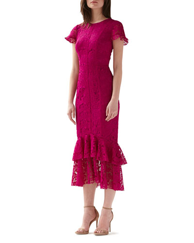 Short-Sleeve Tiered Ruffle-Hem Lace Dress