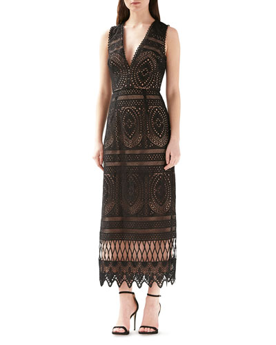 V-Neck Sleeveless Lace Cocktail Dress