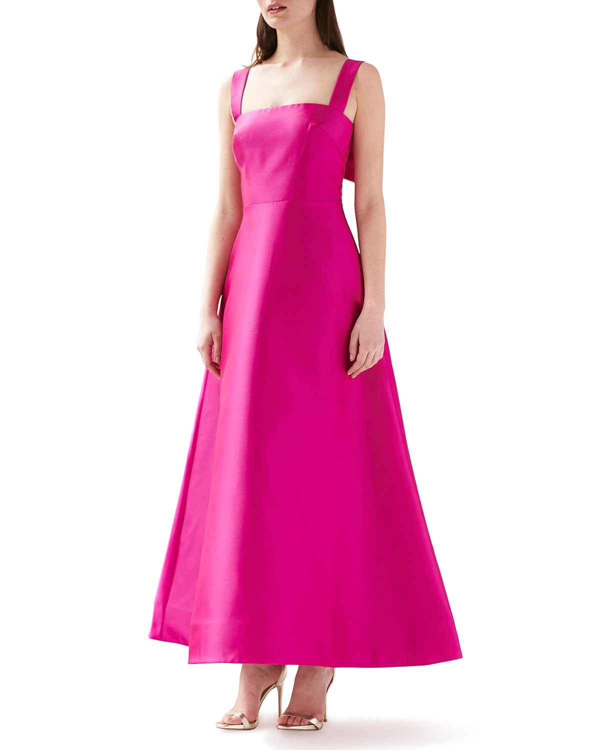 Sleeveless Satin A-Line Gown with Bow-Back Detail