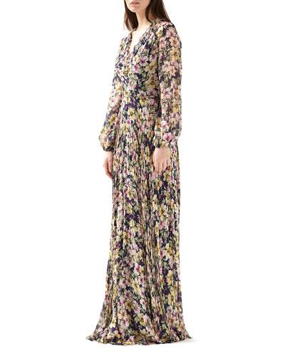 Floral V-Neck Blouson-Sleeve Maxi Dress