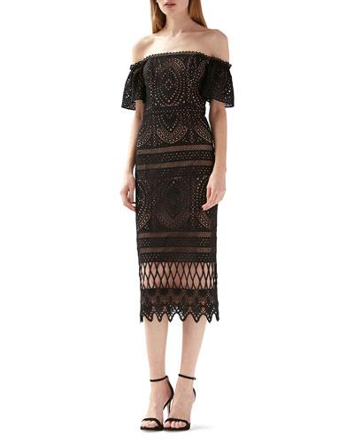 Off-the-Shoulder Short-Sleeve Lace Midi Dress