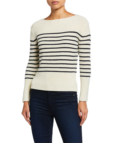 Striped Wool Boat-Neck Sweater