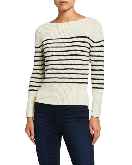 ATM Anthony Thomas Melillo Striped Wool Boat-Neck Sweater