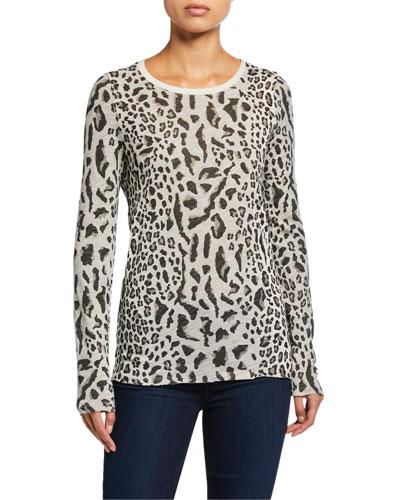 Mixed Leopard-Print Long-Sleeve Shirt