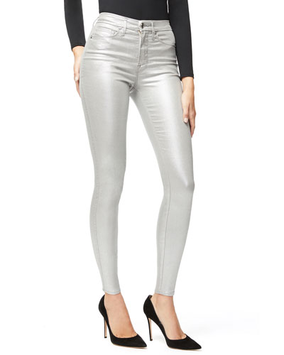 Good Waist Metallic Coated Skinny Jeans - Inclusive Sizing