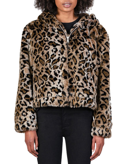 Black Orchid Hooded Faux-Fur Jacket