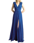 Basix V-Neck Sleeveless Bow-Shoulder Gown
