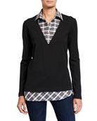 Finley Samantha Charcoal Check Layered Knit Top