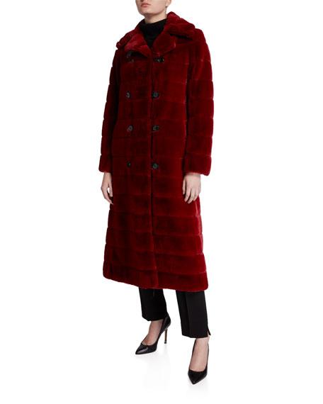 Maison Atia Catherine Faux Fur Double-Breasted Coat