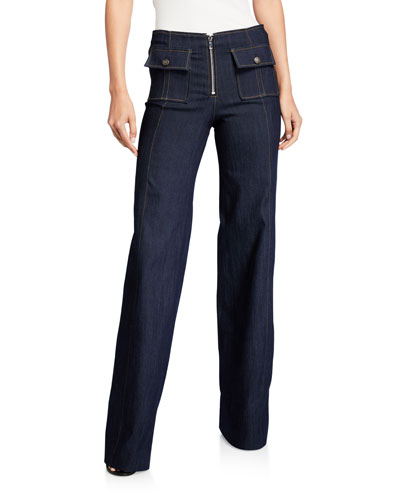 Azure Flap-Pocket Denim Pants