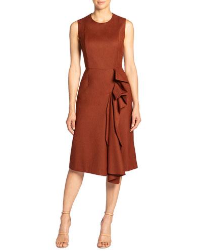 Nicolette Sleeveless Wool Dress with Side Ruffle Detail