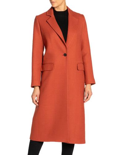 Tammy Single-Button Notch Lapel Long Wool Twill Coat