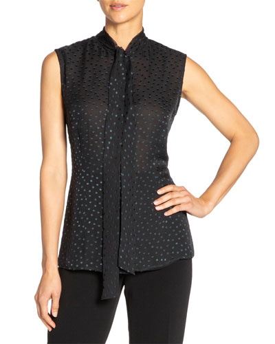 Teca Swiss Dot Sleeveless Silk Chiffon Top w/ Neck-Tie