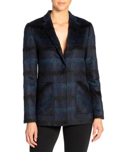 Hannah Tonal Plaid Wool One-Button Jacket