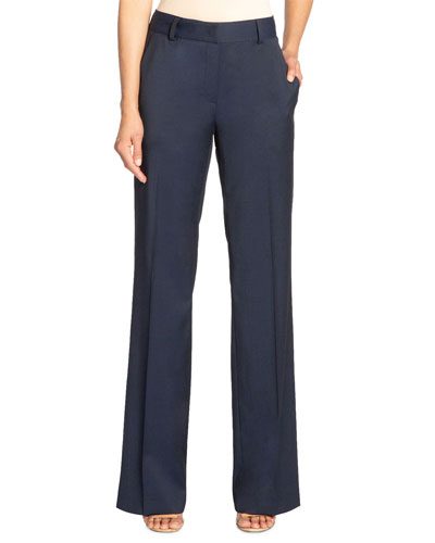 Paola Full-Length Stretch Wool Trousers with Pockets