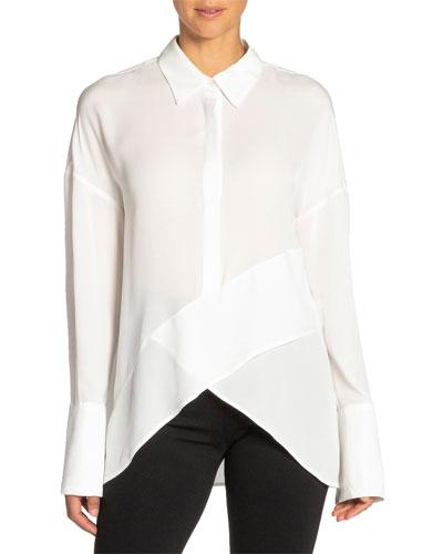 Perla Drop-Shoulder Long-Sleeve High-Low Silk Georgette Top