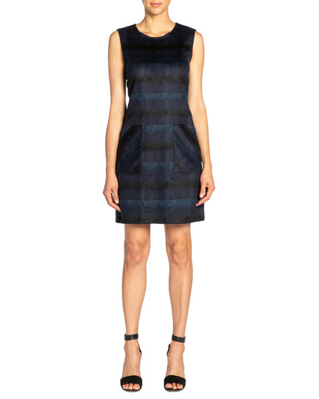 Santorelli Renee Tonal Plaid Wool Sleeveless Sheath Dress with Pockets