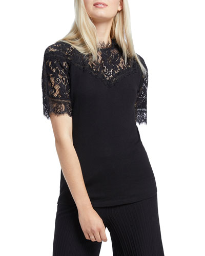 Victorian Lace Short-Sleeve Top