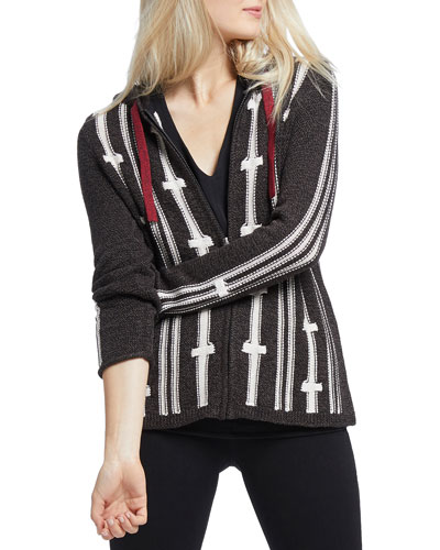 New Tracks Striped Zip-Front Hooded Cardigan