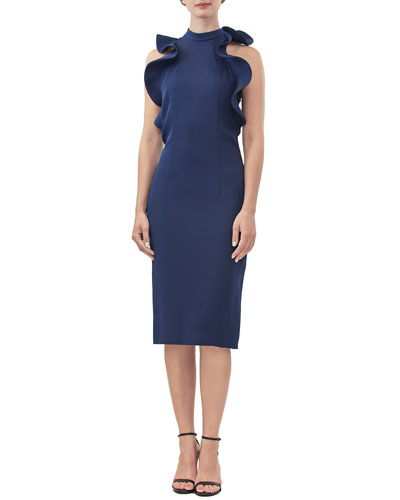Deborah High-Neck Sleeveless Ruffle Sheath Dress