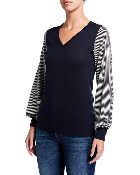 Neiman Marcus Cashmere Collection Superfine V-Neck Long-Sleeve Sweater w/ Striped Sleeves
