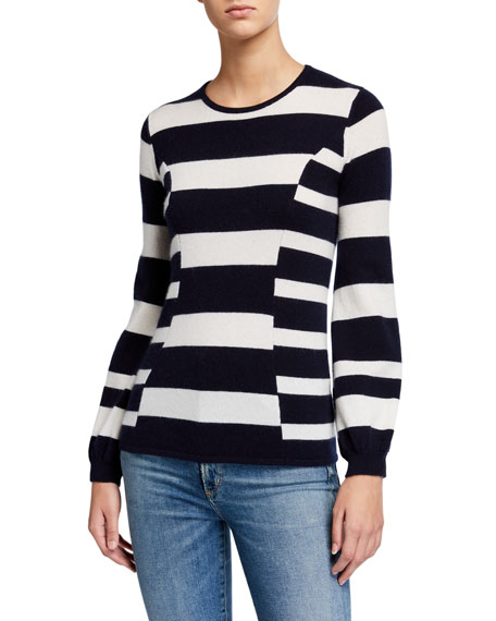 Neiman Marcus Cashmere Collection Cashmere Multi Stripe Blouson Sleeve Crewneck Sweater