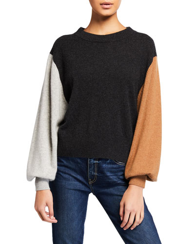 Colorblock Cashmere Bishop-Sleeve Sweater
