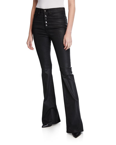 Beverly High-Rise Flared Button-Front Jeans