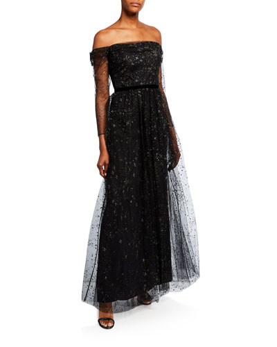 Glitter Tulle Off-the-Shoulder Gown with Ribbon Waist Trim