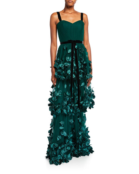 Marchesa Notte Sleeveless Three Tiered Column Gown with 3D Flowers