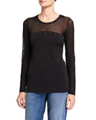Anatomie Buddha Lux Mesh Long-Sleeve Top with Stud