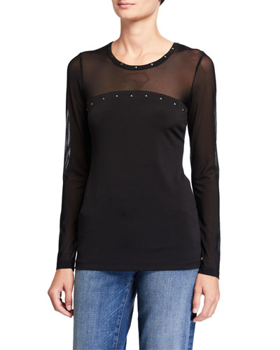 Buddha Lux Mesh Long-Sleeve Top with Stud Detail